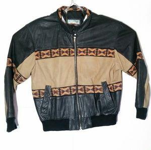Vintage Adler Leather Jacket Southwestern Aztec